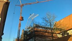 Ein Teil der Gerüste muss für letzte Arbeiten zunächst noch stehenbleiben. Zu erkennen ist aber schon das frischgedeckte Dach des Gerichtslaubenflügels. Foto: Hansestadt Lüneburg